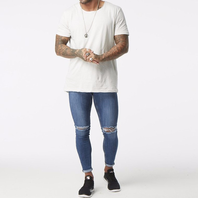 7be66699 2019 fashion new style wholesale high waist top 10 jeans brands mens super  skinny knee ripped denim jeans men