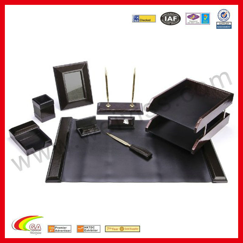 For Middle East Market 9 Piece Office Desk Leather Stationery Set