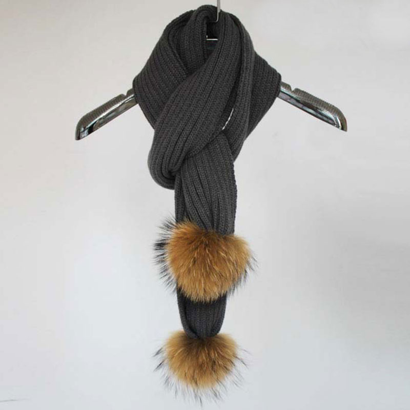 Myfur Wool Acrylic Snood Infinity Dark Grey Men's Knitted Scarf with Real Raccoon Fur Balls