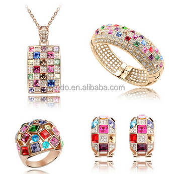 free shippinghigh luxury crystal jewelry set necklace+earring+ring +bracelet