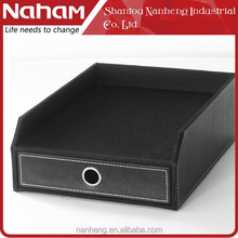 NAHAM faux leather desk organizer file tray with drawer