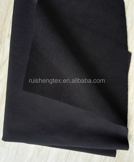 jacket softshell 100D plain 4 ways stretch fabric bonded tpu bonded fleece three layers fabric