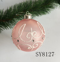 wholesale Christmas tree decorations pink hanging glass ball