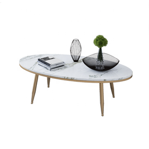 Hot sale fashional style mable/ceramic top coffee table with metal leg