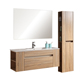 "VT-084 Wall Hung 47"" White Oak Color laminated Vanity Soft Close Drawers Bathroom"