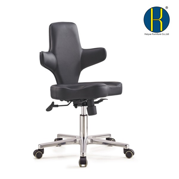 ergonomic saddle seat chair black pu leather dental chair medical with backrest