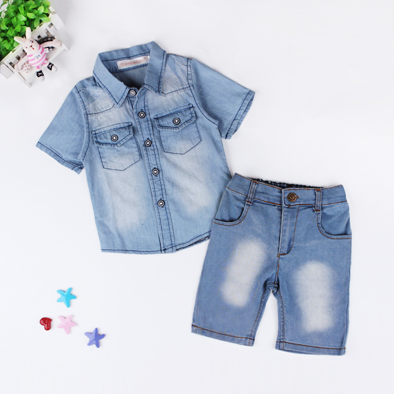 ef0ec8544b6 European fashion design boy s shirt+pants+braces clothes sets children clothing  2017 for kids boys summer denim outfits