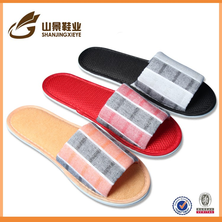 Soft velvet with anti slip dot sole hotel slipper