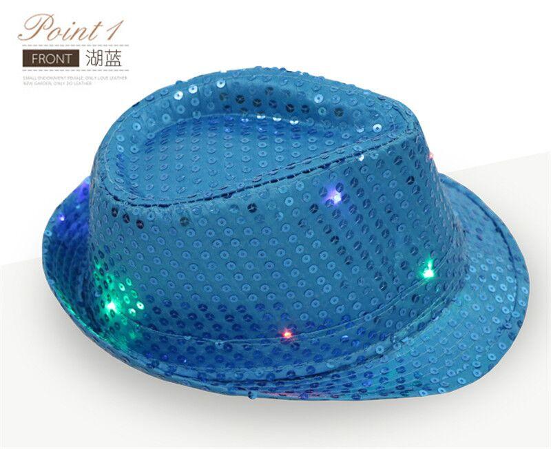 Bling Bling Fashionable led flashing party hats christmas led flashing light  up sequin fedora hats dd4c7939aa69