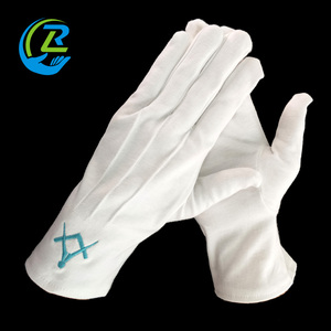 Custom Embroidery Logo white cotton Masonic Regalia gloves