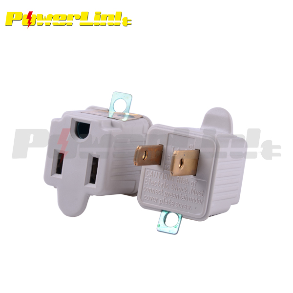 J150178 UL Listed 1 Outlet Grounding Adapter Wall Socket