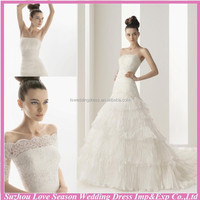 WD2054 Stunning lace bodice tiered crepe low waist chapel train gathered top white long sleeve corset wedding dress
