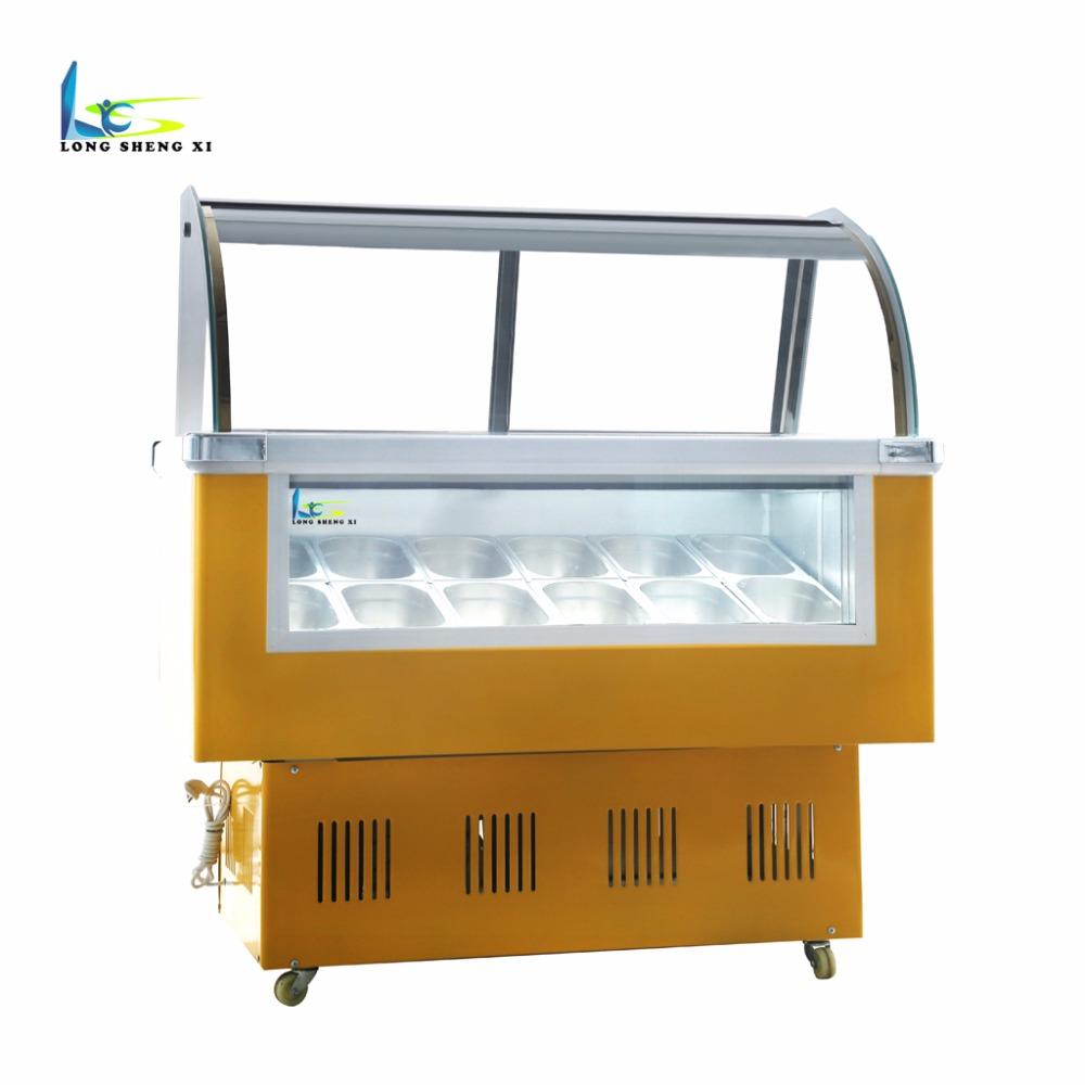 Longshengxi Small Ice Cream Freezer Glass Doorgelato Ice Cream