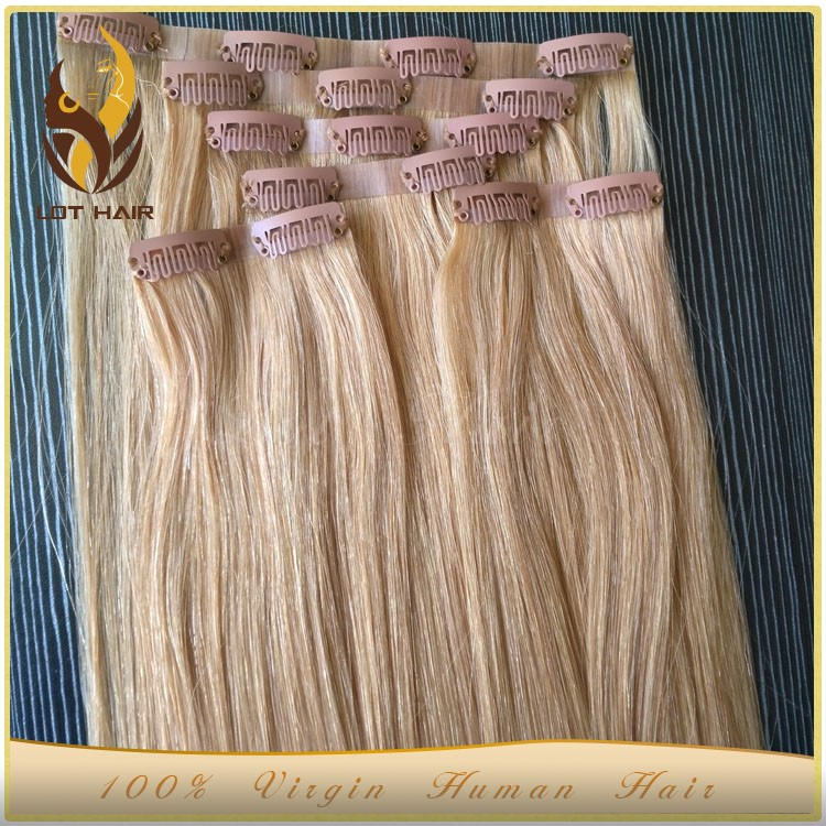Christmas sales promotion seamless PU skin weft clip in hair extension