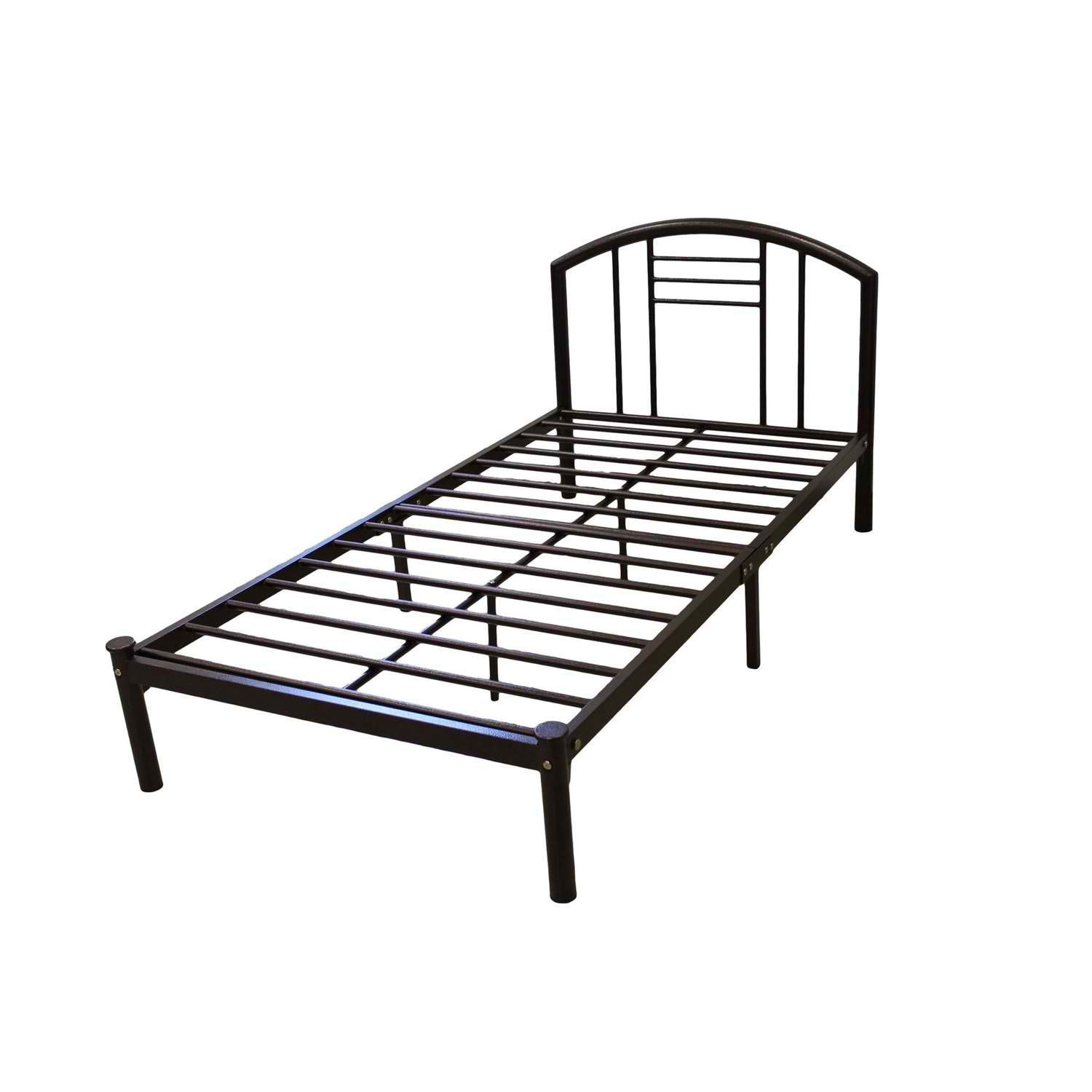 BeUniqueToday Twin Size Platform Bed Frame with Headboard in Bronze Finish, Twin Size Platform Bed Frame with Headboard Has A Contemporary Style and A Silver Finish, A Great Addition to Your Home
