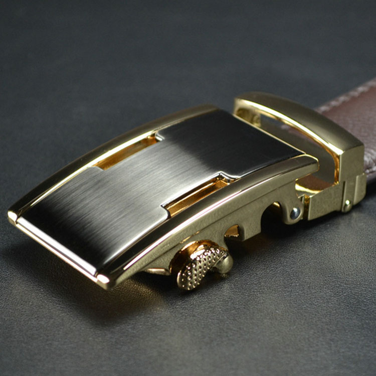 ab003 Men Brown Leather Automatic Buckle Belt Gold Buckle