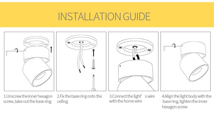 北欧デザインのフラッシュマウント白/黒の調整可能 7 ワットスポットライト調光対応アンチグレア led スポットライト