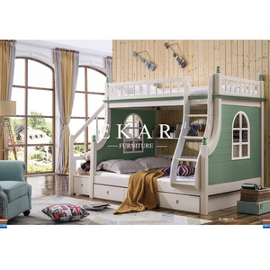 Double bed with guardrail Double-deck Green Children Bed
