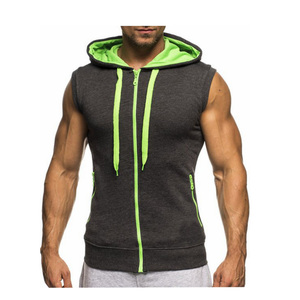 2018 Singlet Mens fitness Tank Tops zipper Men's Sleeveless Hoodies bodybuilding Gyms