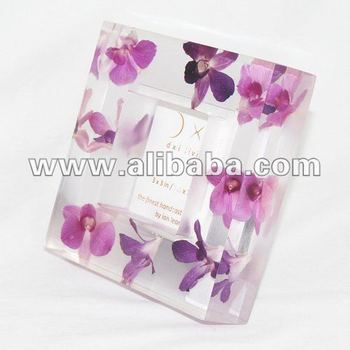Photo Frame Resin Hand Cast : Thai Orchid Embed : 3 X 3 Inch   7.5 X ...