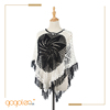 newest design crochet cape cloak white see through blouse for lady
