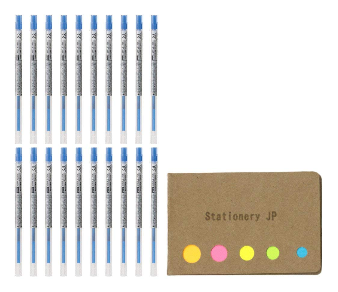 Uni-ball Signo Gel Ink Refills for Uni Style Fit Gel Multi Pen 0.5mm Blue Ink, 20-pack, Sticky Notes Value Set