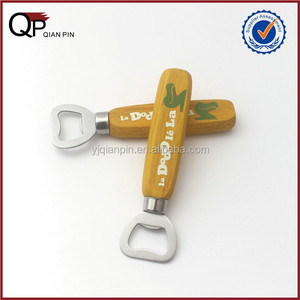Promotional wood handle stainless steel bottle opener