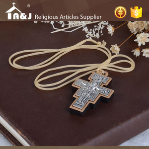 A&J San Damiano wooden crucifix, religious crucifix, religious cross with orthodox icon pendant