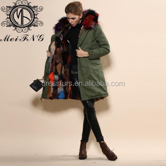 Wholesale Colorful Winter Warm Rabbit Fur Strips Coat Design