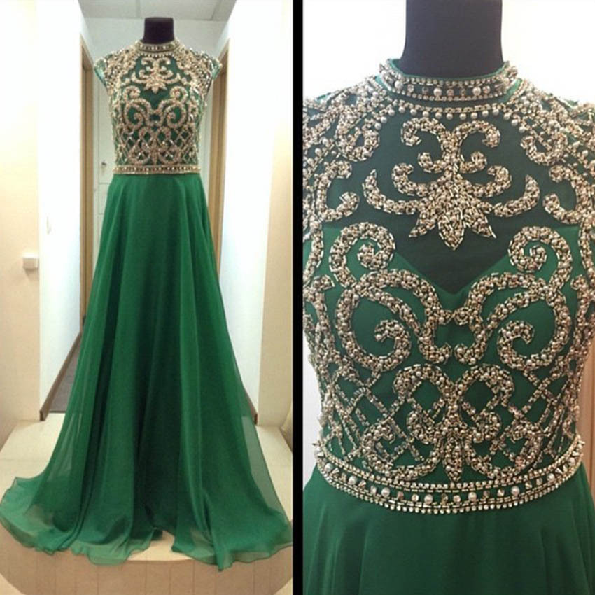 Women's Beading Emerald Green Long Prom Dresses 2017 Sexy ...