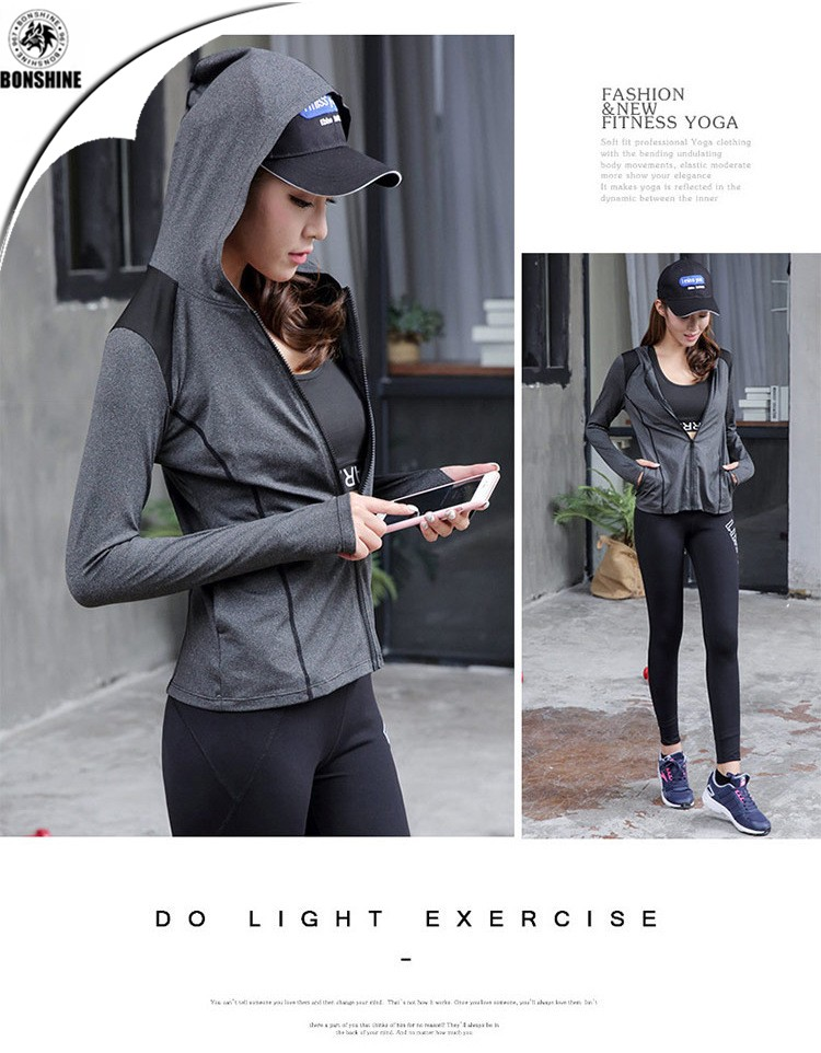 New ladies sports running long-sleeved slim quick-drying yoga jacket hooded jacket wholesale