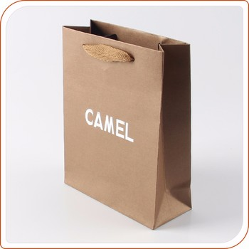 Embossing Silver Hot Stamping Logo Brown Kraft Paper Bag With Handles