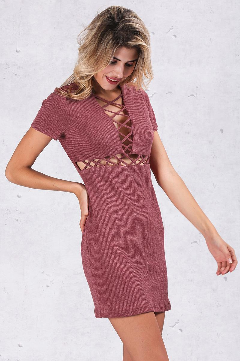 Simplee Autumn winter knitted lace up dress women Sexy red bodycon dress vestidos Elegant party short sleeve girls dress 2016 8