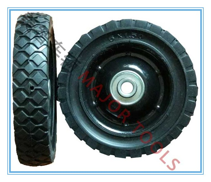 150mm steel lawn mower semi-pneumatic rubber wheels 6X1.50