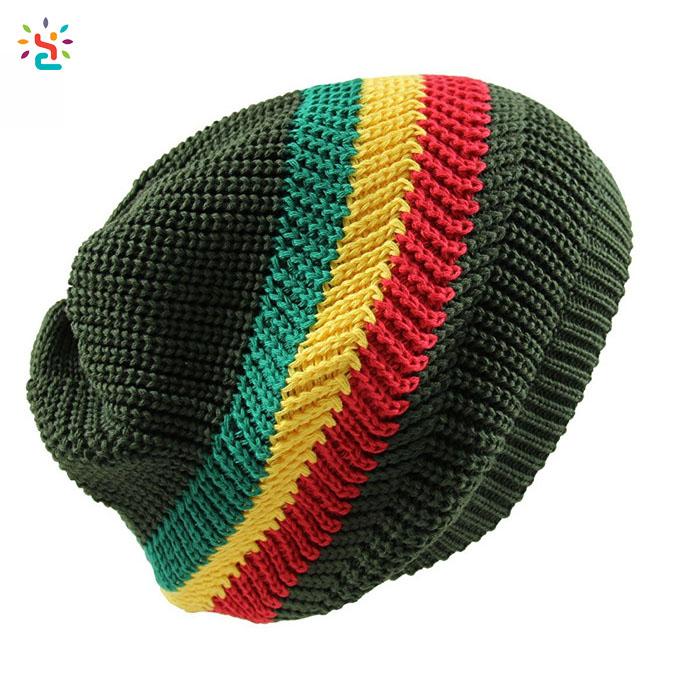 239d2d4822ee9 Wholesale rasta hat knitted beanie in bulk winter hats warm stripe beanie  cap 100% cotton