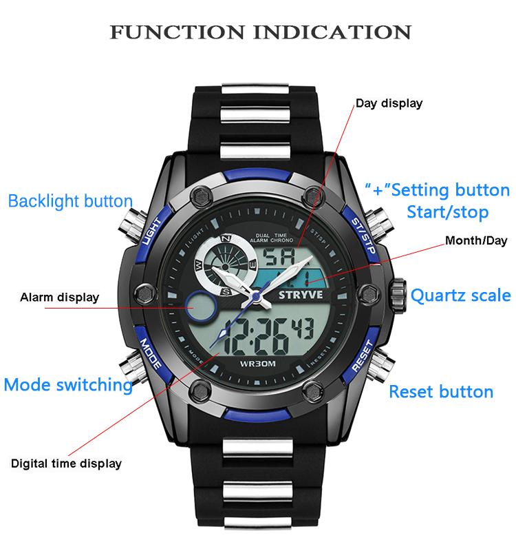 748733522149 Venta caliente doble tiempo relojes para hombres de cuarzo reloj Digital  Stryve 8006 marca militar gran