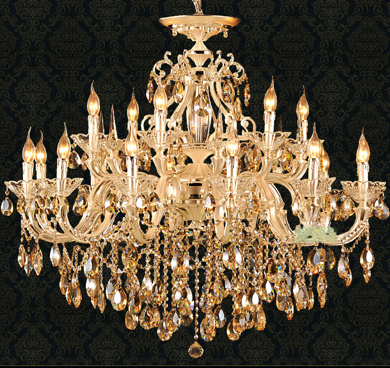 Antique Candle Chandeliers Champagne Crystal Chandelier: 18 Led Candle Gold Chandelier Champagne Crystal Chandelier