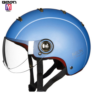 Hot sales popular blue vintage motorcycle security safety crashes helmet with single lens visor helmet protection face and head