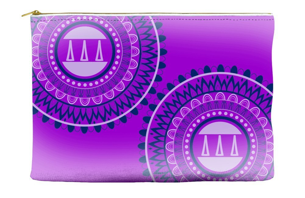 Delta Delta Delta (Tri Delta) Circle Pattern Purple Cosmetic Accessory Pouch Bag for Makeup Jewelry & other Essentials