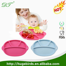 One Piece silicone rubber round Baby Feeding Mini Happy Face Placemat