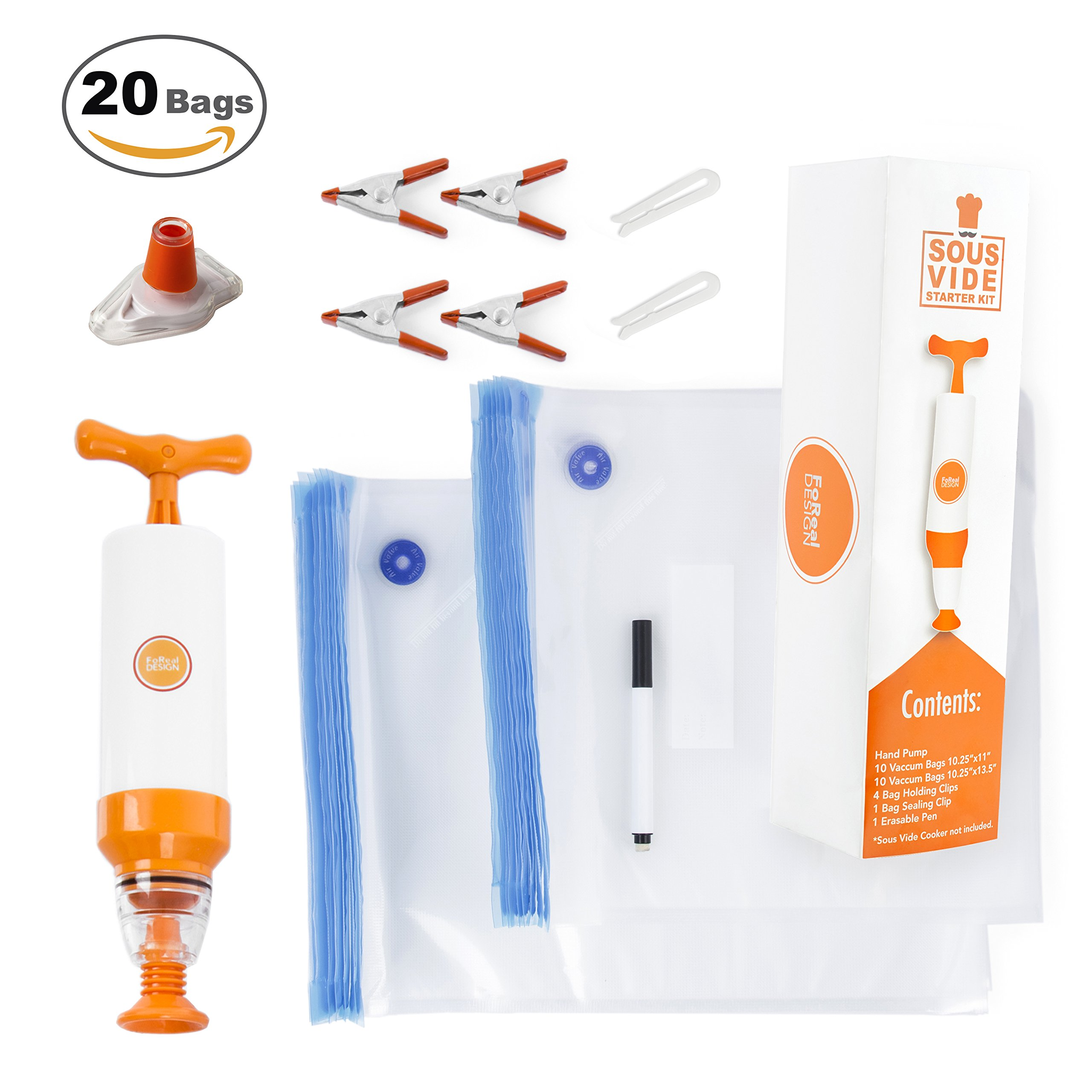 FoReal Design Sous Vide Bags Kit for Anova and Joule - 20 Reusable BPA Free Sous Vide Bags, 1 Hand Pump, 2 Bag Sealing Clips, 4 Sous Vide Clips,1 Erasable Marker,1 Wine Bottle Sealer, & E-Cookbook