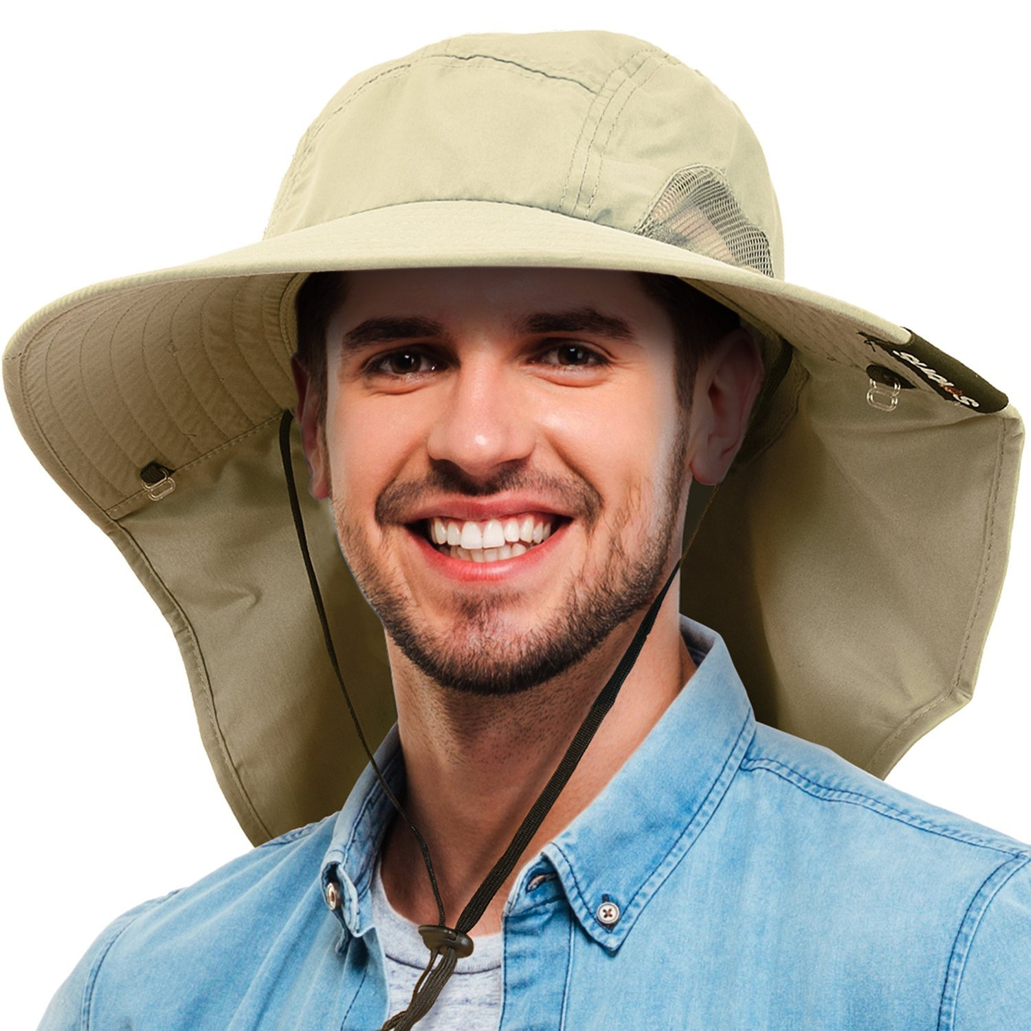 894507f025e45 Tirrinia Unisex Wide Brim Sun Hat with Neck Flap Fishing Safari Cap for Men  Women Outdoor