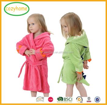 Amazon Hot Sale Pure Cotton Dinosaur Bathrobe Cartoon Animal Hooded Towel Bath  Robe Kids Hooded Bath 243054118