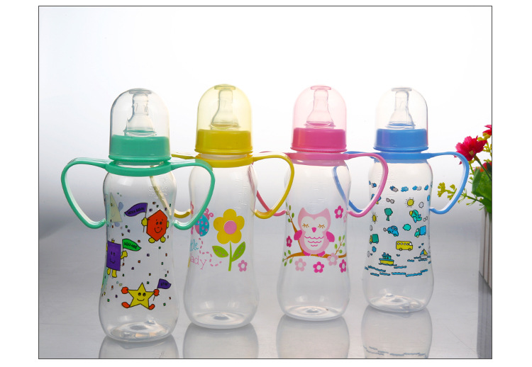 250ml Baby Feeding Bottle with Handle Kid Milk Powder Bottle Cup Standard Nipple Disposable Baby Care Wamer