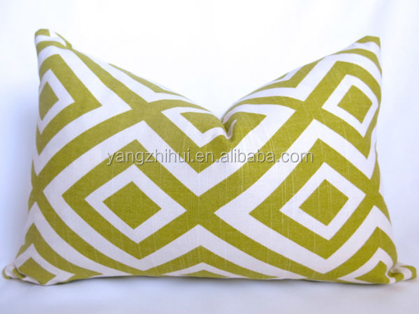 Diamond Fence Kiwi Ivory Geometric Lumbar Pillow Cover,throw pillow case