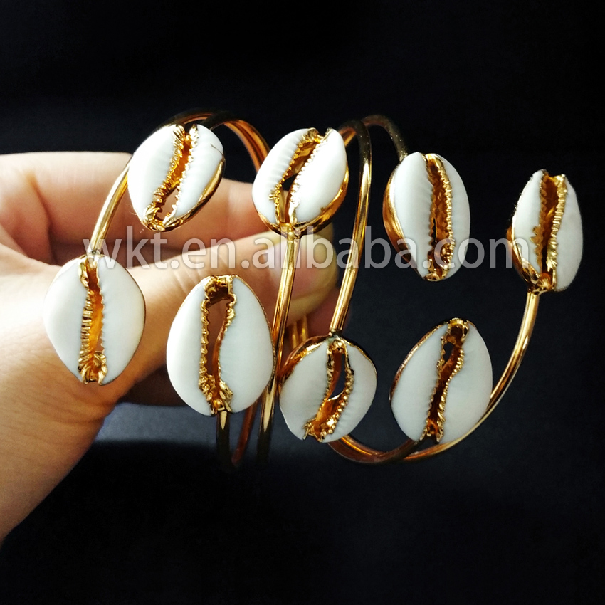 WT-B197 24K gold plated double shell bracelet bangle, Fashion natural double cowrie shell bangle