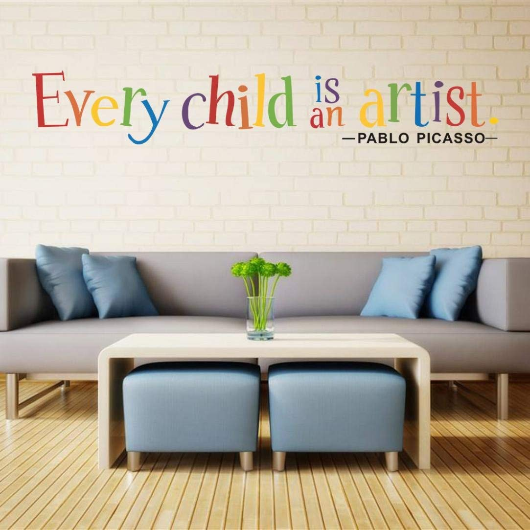 a8696c1883 Get Quotations · Rumas Reusable Every Child is an Artist Wall Sticker Quotes,  DIY Removable Vinyl Mural for