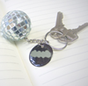 Silver Disco Ball Keychain With Tag
