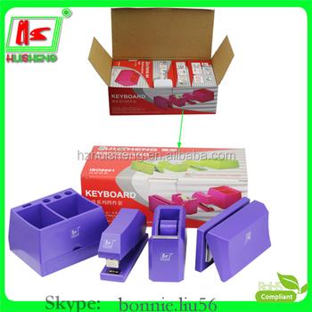 professional plastic 4 pieces office desk set cheap stationery sets