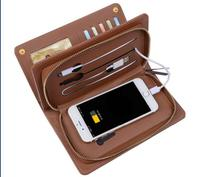 Multifunctional leather wallet with wireless charger powerbank